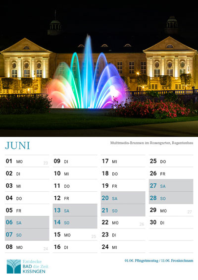 kalender 2019 bad kissingen blatt